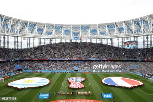 General view inside the stadium as the teams line up ahead of the 2018 FIFA World Cup Russia Quarter Final match between Uruguay and France at Nizhny...