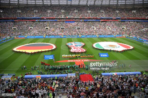 General view inside the stadium as the teams line up for the national anthems prior to the 2018 FIFA World Cup Russia group F match between Germany...