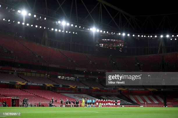 General view inside the stadium as the team's line up prior to during the UEFA Europa League Group B stage match between Arsenal FC and Dundalk FC at...