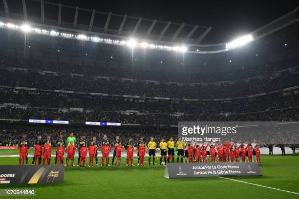 General view inside the stadium as the teams line up prior to the second leg of the final match of Copa CONMEBOL Libertadores 2018 between Boca...