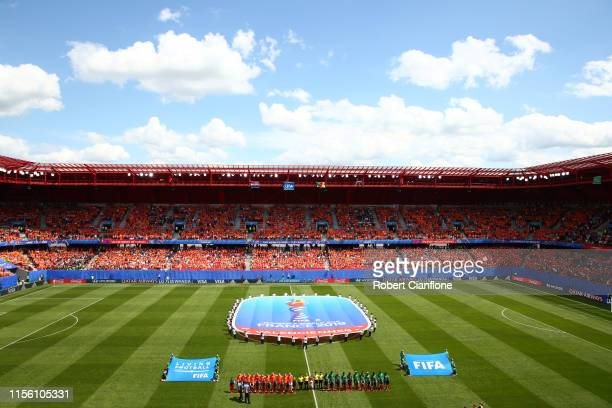 General view inside the stadium as the teams line up prior to the 2019 FIFA Women's World Cup France group E match between Netherlands and Cameroon...