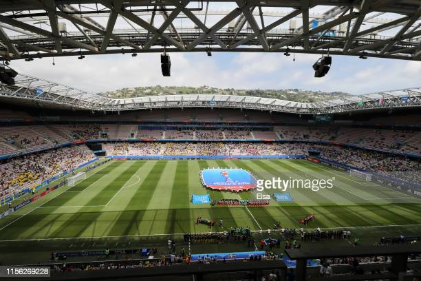 General view inside the stadium as the team's line up prior to the 2019 FIFA Women's World Cup France group F match between Sweden and Thailand at...