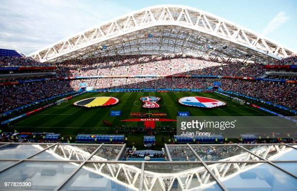 General view inside the stadium as the teams line up prior to the 2018 FIFA World Cup Russia group G match between Belgium and Panama at Fisht...