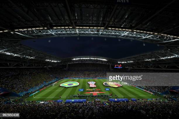 General view inside the stadium as the teams line up prior to the 2018 FIFA World Cup Russia Quarter Final match between Brazil and Belgium at Kazan...