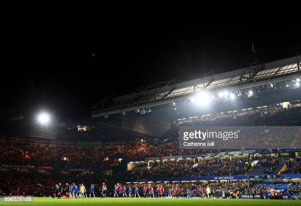 General view inside the stadium as the teams walk out before the Carabao Cup QuarterFinal match between Chelsea and AFC Bournemouth at Stamford...