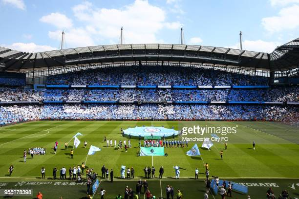 General view inside the stadium as the teams walk out prior to the Premier League match between Manchester City and Huddersfield Town at Etihad...