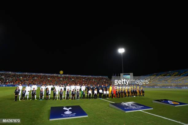 General view inside the stadium as the Tottenham Hotspur and of Apoel FC team line up prior to the UEFA Champions League Group H match between Apoel...