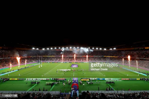 General view inside the stadium as the two teams line up for the respective national anthems ahead of the Rugby World Cup 2019 Final between England...