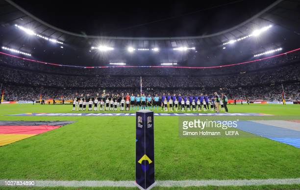 General view inside the stadium as the two teams line up prior to the UEFA Nations League Group A match between Germany and France at Allianz Arena...