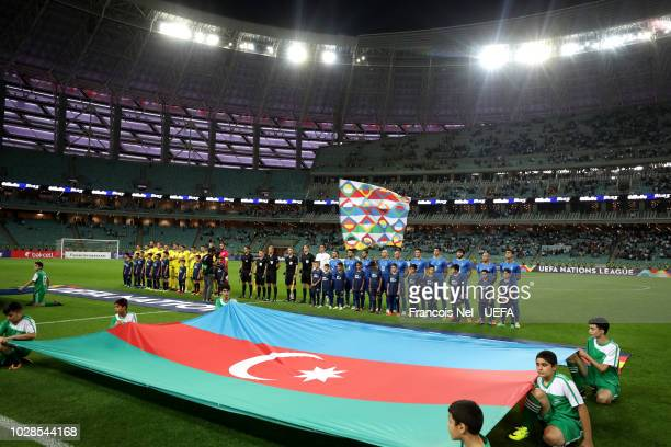General view inside the stadium as the two teams line up prior to the UEFA Nations League D group four match between Azerbaijan and Kosovo at Baku...