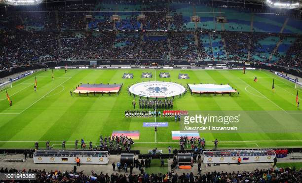 General view inside the stadium as the two teams line up prior to the International Friendly match between Germany and Russia at Red Bull Arena on...