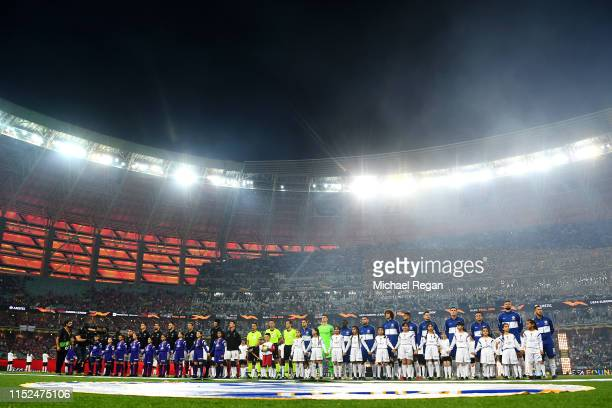 General view inside the stadium as the two teams line up prior to the UEFA Europa League Final between Chelsea and Arsenal at Baku Olimpiya Stadionu...