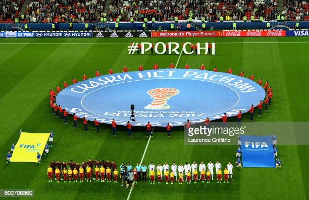 General view inside the stadium as the two teams line up prior to the FIFA Confederations Cup Russia 2017 SemiFinal between Portugal and Chile at...