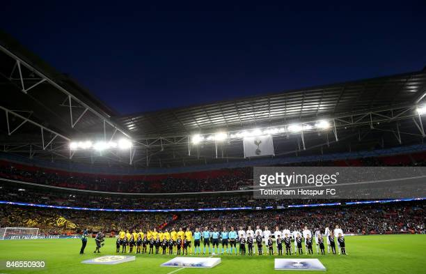 General view inside the stadium as the two teams line up prior to the UEFA Champions League group H match between Tottenham Hotspur and Borussia...
