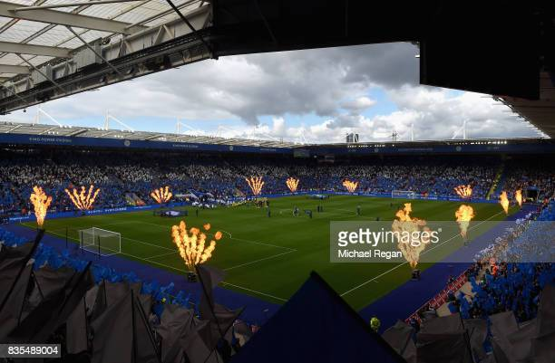 General view inside the stadium as the two teams walk out prior to the Premier League match between Leicester City and Brighton and Hove Albion at...
