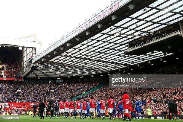 General view inside the stadium as the two teams walk out prior to the Premier League match between Manchester United and Everton at Old Trafford on...