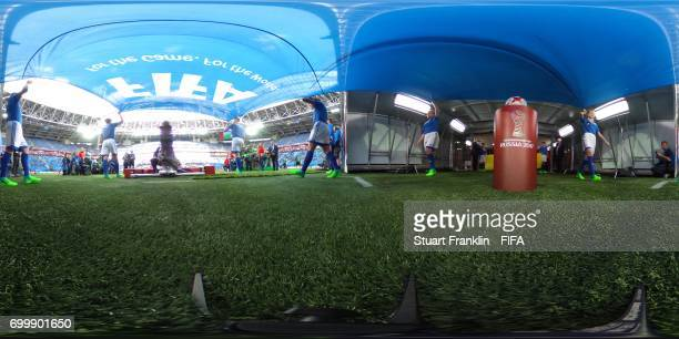 General view inside the stadium as they teams emerge during the FIFA Confederations Cup Russia 2017 Group B match between Cameroon and Australia at...