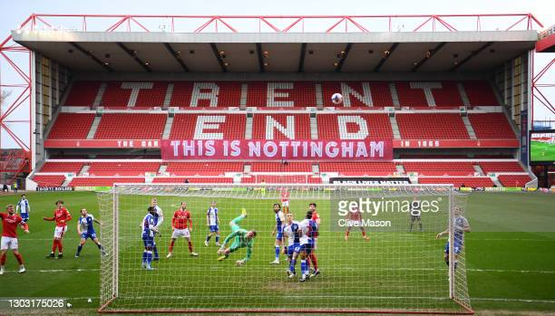 General view inside the stadium as Thomas Kaminski of Blackburn Rovers makes a save during the Sky Bet Championship match between Nottingham Forest...