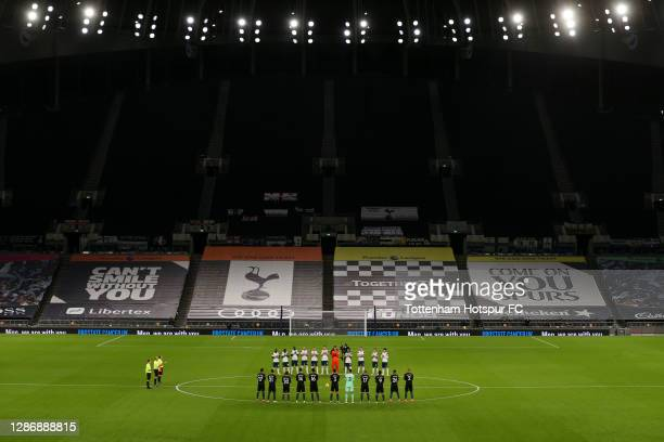 General view inside the stadium as Tottenham Hotspur and Manchester City players observe a minutes silence for former England player Ray Clemence,...