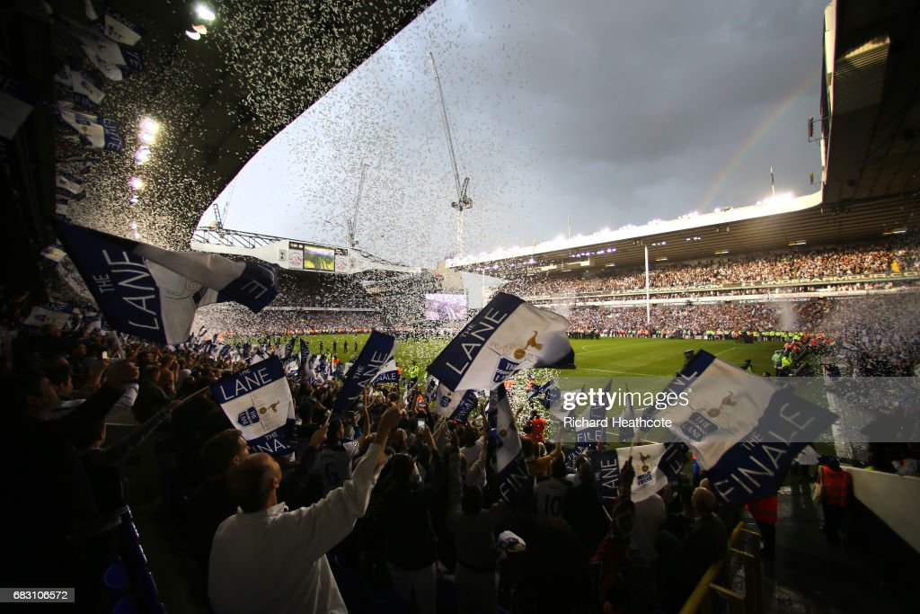 General view inside the stadium as Tottenham Hotspur fans celebrate after Preimer League match between Tottenham Hotspur and Manchester United at White Hart Lane on May 14, 2017 in London, England. Tottenham Hotspur are playing their last ever home match at White Hart Lane after their 118 year stay at the stadium. Spurs will play at Wembley Stadium next season with a move to a newly built stadium for the 2018-19 campaign.