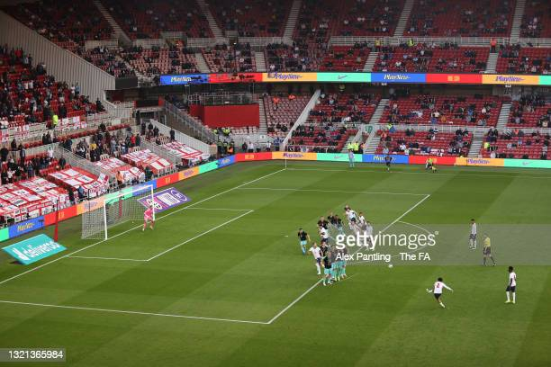 General view inside the stadium as Trent Alexander-Arnold of England takes a free kick during the international friendly match between England and...