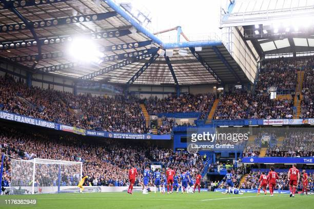 General view inside the stadium as Trent AlexanderArnold of Liverpool scores his team's first goal during the Premier League match between Chelsea FC...