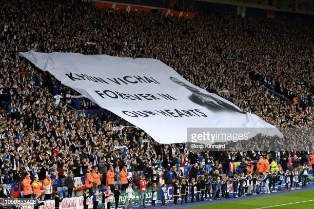 General view inside the stadium as tributes are paid to Leicester City chairman Vichai Srivaddhanaprabha prior to the Premier League match between...