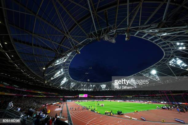 A general view inside the stadium as Usain Bolt of Jamaica competes in the Men's 100 metres heats during day one of the 16th IAAF World Athletics...