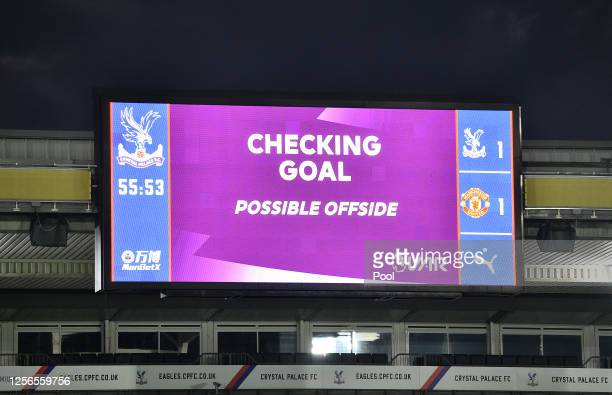 General view inside the stadium as VAR checks a Crystal Palace goal during the Premier League match between Crystal Palace and Manchester United at...