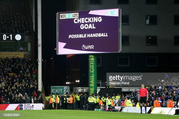 General view inside the stadium as VAR disallowed a goal scored by Kelechi Iheanacho of Leicester City during the Premier League match between...