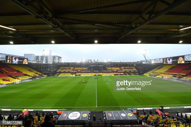 General view inside the stadium as Watford and Preston North End players take part in a minute of applause in honour of former footballer Diego...