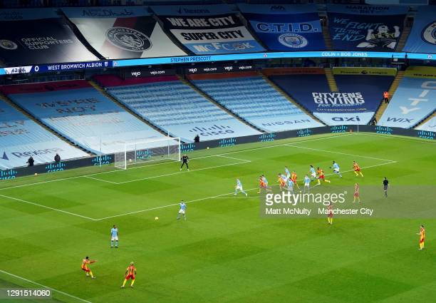 General view inside the stadium as West Brom take a free kick during the Premier League match between Manchester City and West Bromwich Albion at...