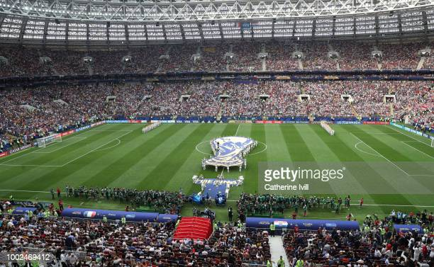 General view inside the stadium before the 2018 FIFA World Cup Russia Final between France and Croatia at Luzhniki Stadium on July 15 2018 in Moscow...
