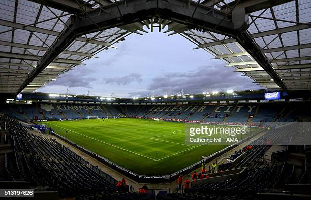 General view inside the stadium before the Barclays Premier League match between Leicester City and West Bromwich Albion at the King Power Stadium on...