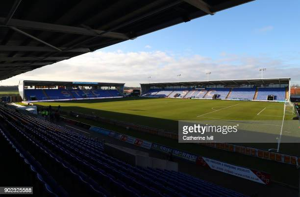 General view inside the stadium before the Emirates FA Cup Third Round match between Shrewsbury Town and West Ham United at New Meadow on January 7...