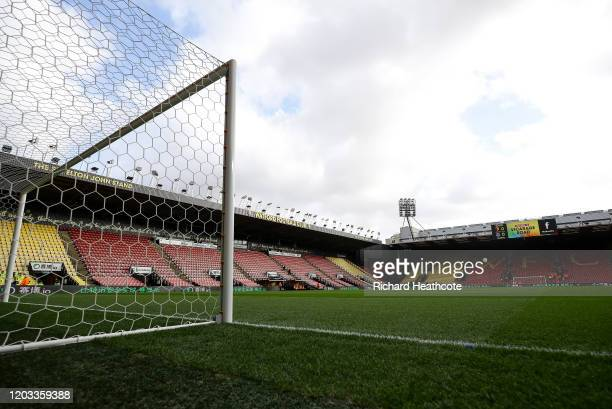 General view inside the stadium before the Premier League match between Watford FC and Everton FC at Vicarage Road on February 01, 2020 in Watford,...