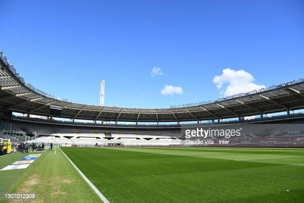 General view inside the stadium before the Serie A match between Torino FC and FC Internazionale at Stadio Olimpico di Torino on March 14, 2021 in...