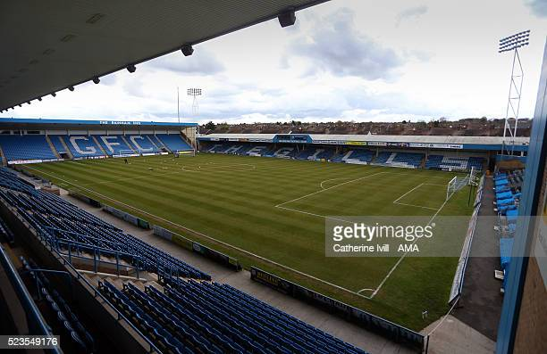 General view inside the stadium before the Sky Bet League One match between Gillingham and Shrewsbury Town at Priestfield Stadium on April 23 2016 in...