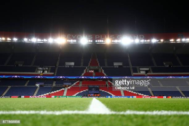 General view inside the stadium before the UEFA Champions League group B match between Paris Saint-Germain and Celtic FC at Parc des Princes on...