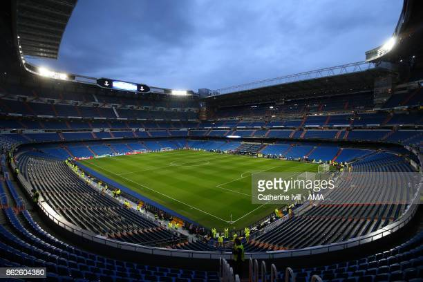 General view inside the stadium before the UEFA Champions League group H match between Real Madrid and Tottenham Hotspur at Estadio Santiago Bernabeu...