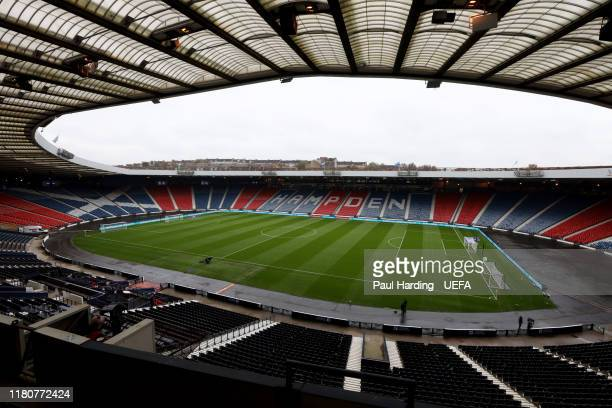 General view inside the stadium before the UEFA Euro 2020 qualifier between Scotland and San Marino at Hampden Park on October 13, 2019 in Glasgow,...