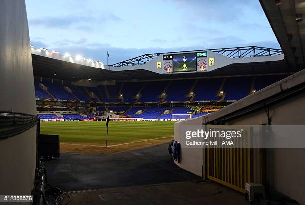 General view inside the stadium before the UEFA Europa League match between Tottenham Hotspur and Fiorentina at White Hart Lane on February 25 2016...