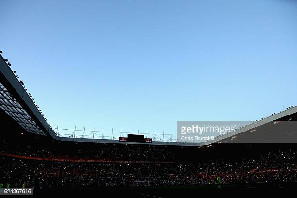 General view inside the stadium during a floodlight faliure during the Premier League match between Sunderland and Hull City at Stadium of Light on...
