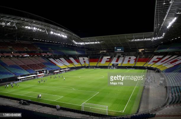 General view inside the stadium during a Germany training session at the Red Bull Arena on November 13, 2020 in Leipzig, Germany.