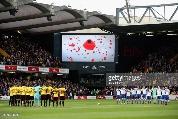 General view inside the stadium during a minute of silence for remembrance day prior to the Premier League match between Crystal Palace and West Ham...