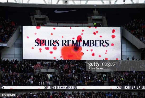 General view inside the stadium during a minute of silence for remeberance day prior to the Premier League match between Tottenham Hotspur and...