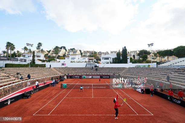 General view inside the stadium during a practice session ahead of the 2020 Fed Cup Qualifier between Spain and Japan at Centro de Tenis La Manga...