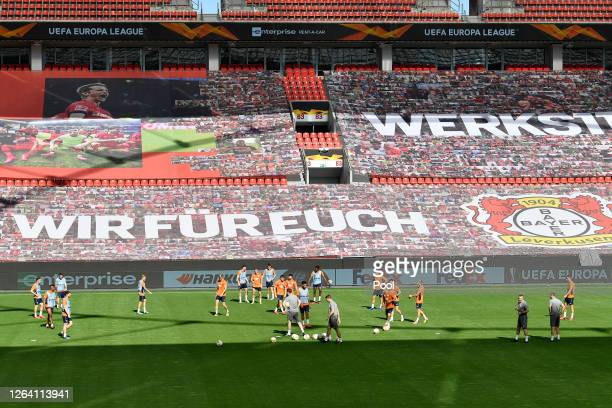 A general view inside the stadium during a Rangers Training Session And Press Conference at BayArena on August 05 2020 in Leverkusen Germany