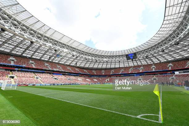 A general view inside the stadium during a Russia training session ahead of the 2018 FIFA World Cup opening match against Saudia Arabia at Luzhniki...