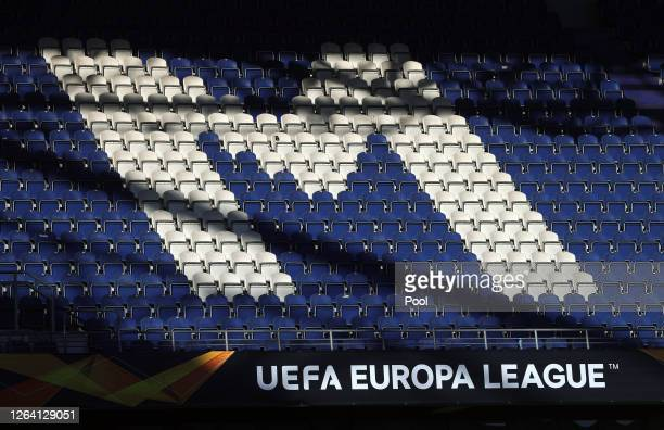A general view inside the stadium during a Sevilla Training Session And Press Conference at MSV Arena on August 05 2020 in Duisburg Germany